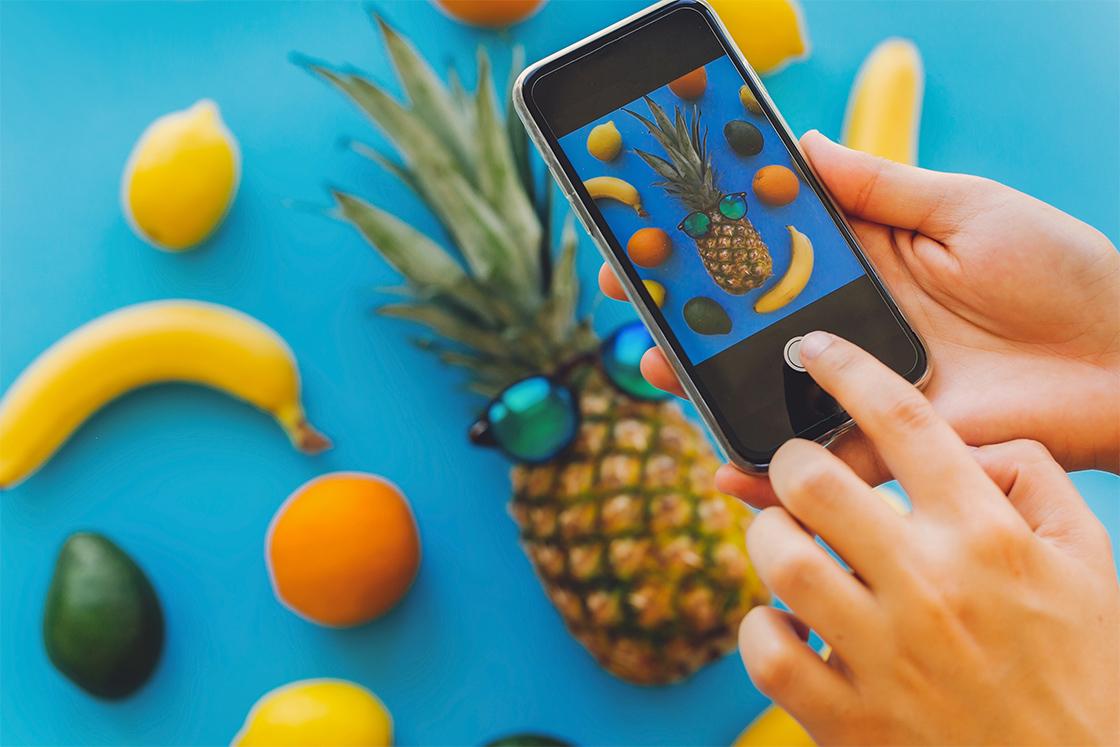 Prise de vue composition de fruits pour pub Instagram